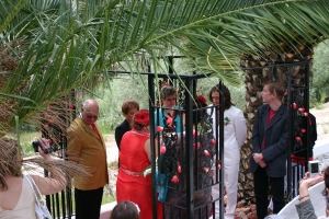 The ceremony under the palm trees