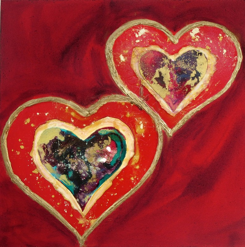 Valentines LoveHug Heart Art