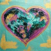 Pink and Green LoveHug Heart Art