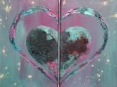 Heart within a heart LoveHug Diptych Heart Art