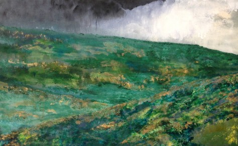 Landscape art oil on canvas olive trees and rain