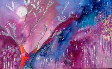 Intuitive Art - Olive Tree in Moonlight